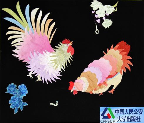 布贴画《对鸡》-书画
